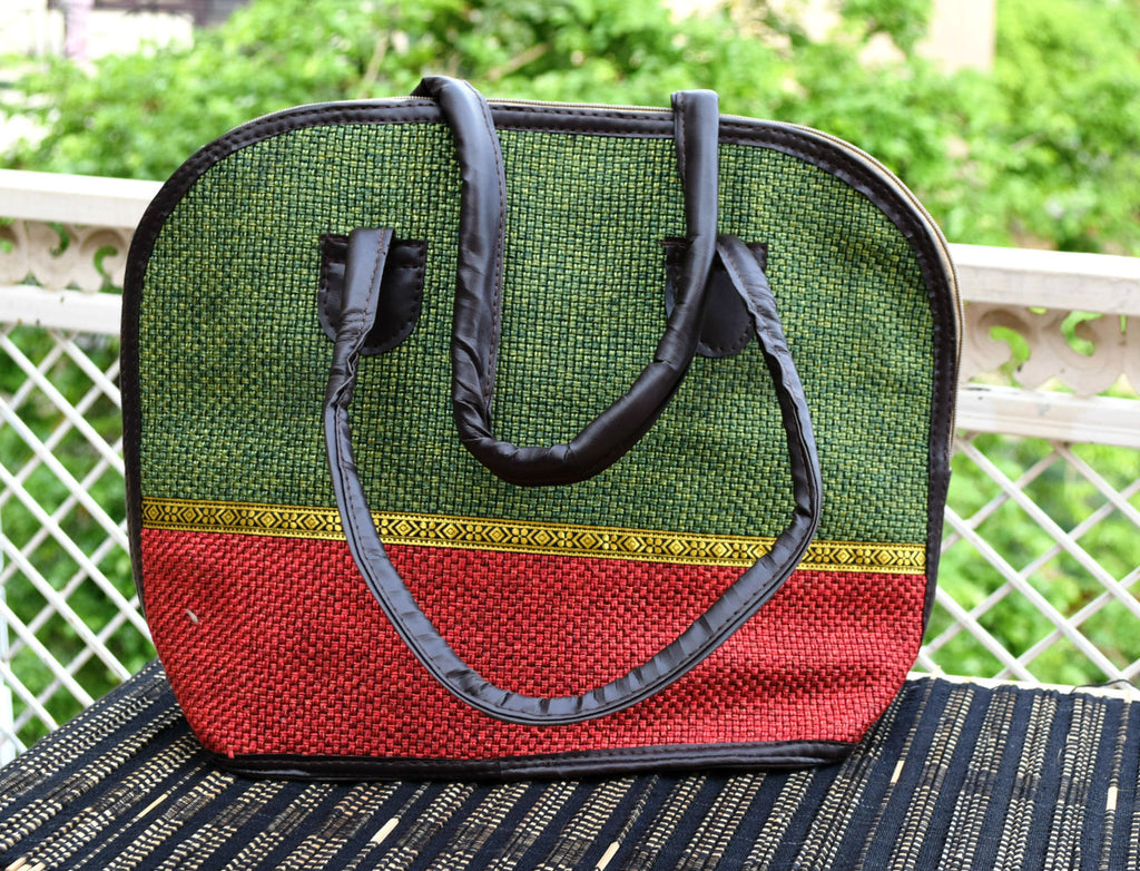 Green Red Jute Shoulder Handbag