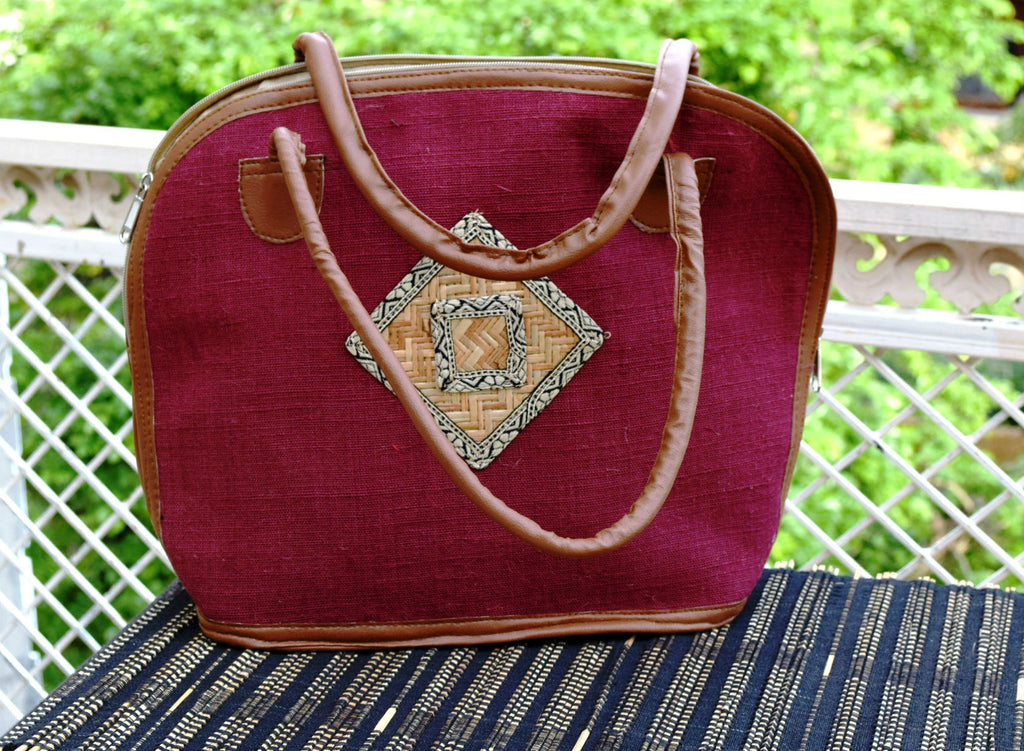 Red Maroon Shoulder Handbag with Bamboo Work