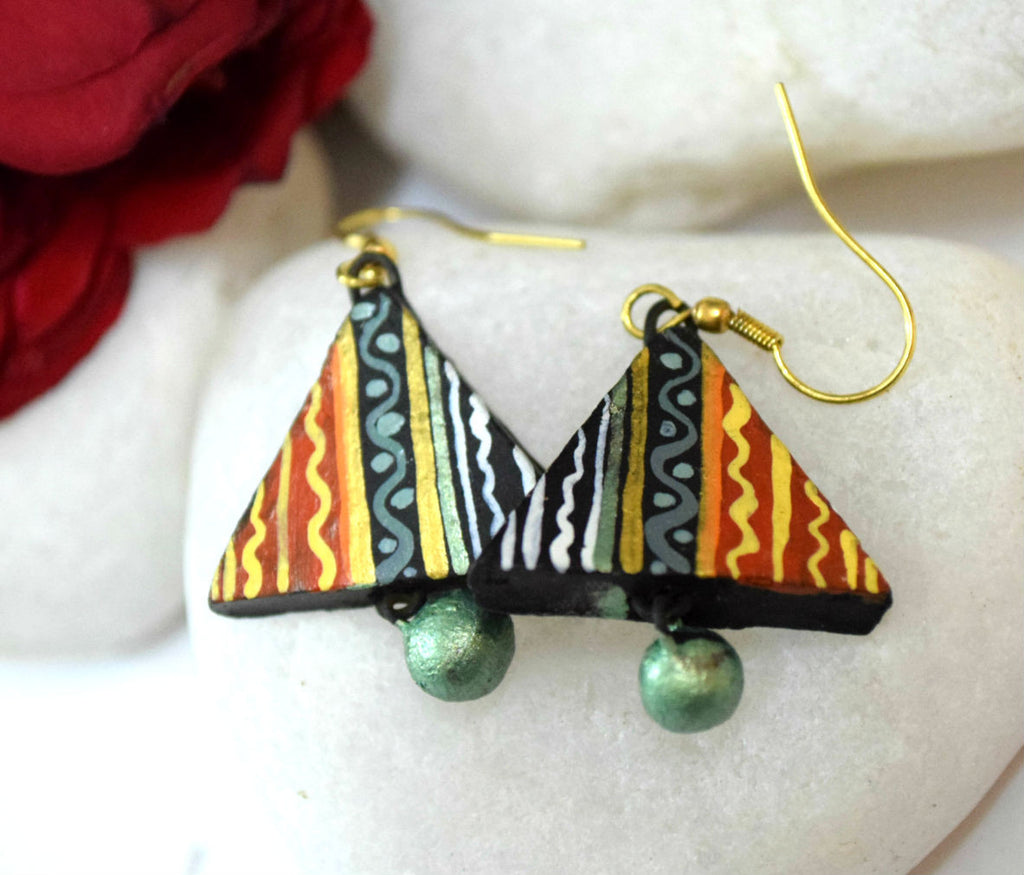 Love Triangle Terracotta Earrings