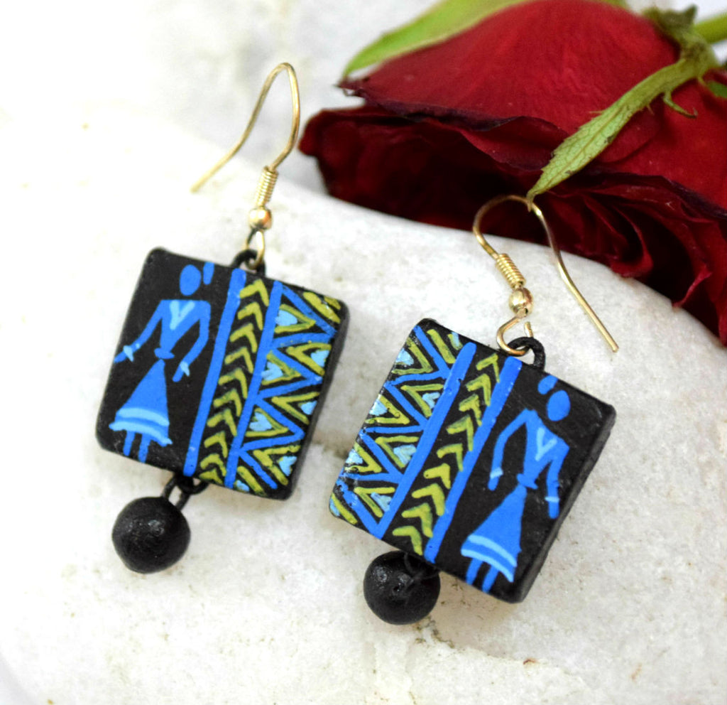 Lady in Blue Terracotta Earrings