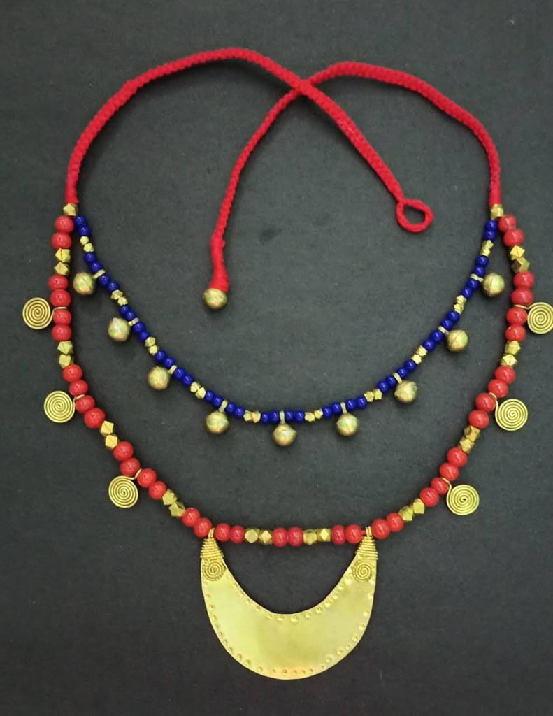 Dhokra Double Layered Necklace with Pendant