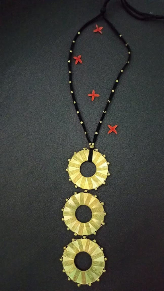 Dhokra 3 Pendants Necklace