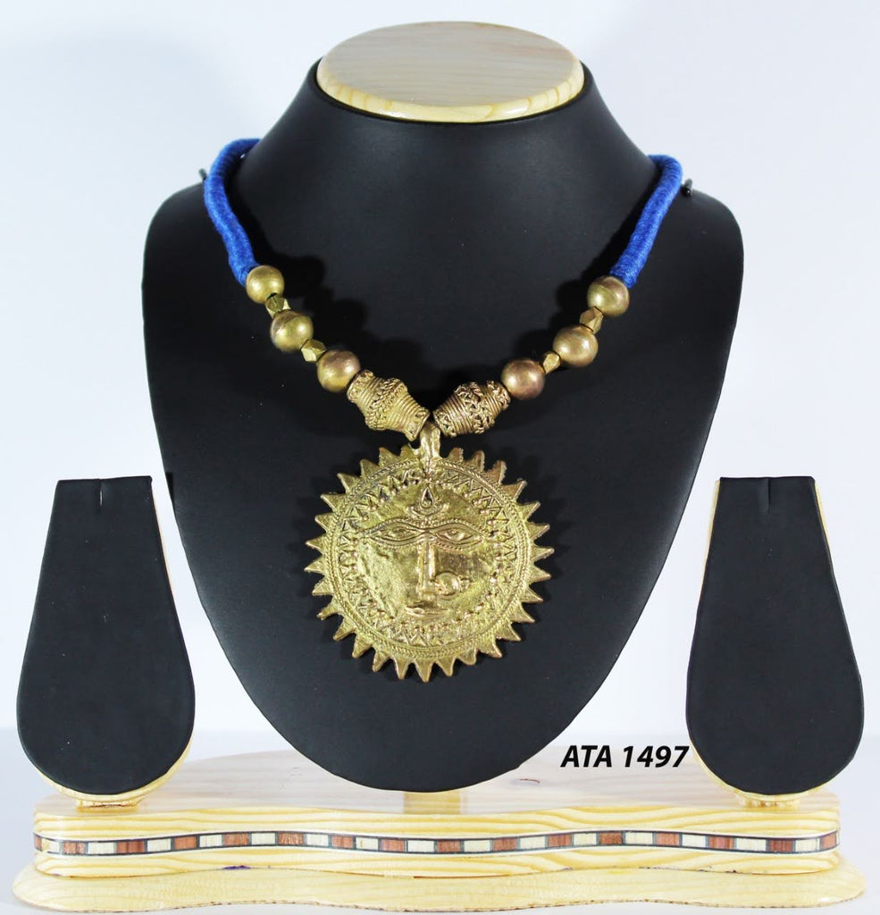 Dhokra Necklace with Sun Delight Pendant
