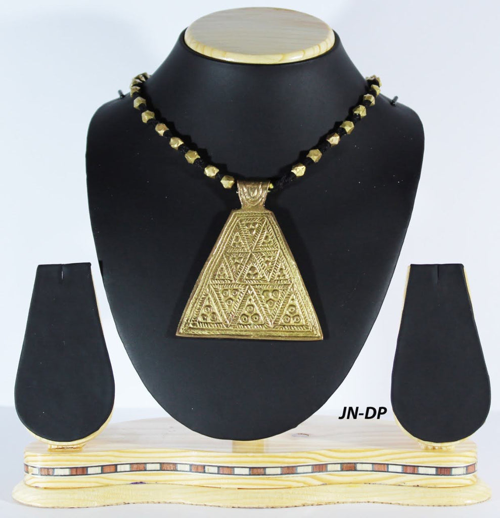 Dhokra Beaded Necklace with Big Pendant