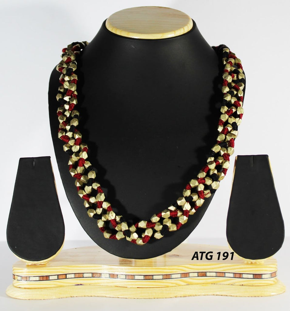 Dhokra 3 String Beaded Necklace