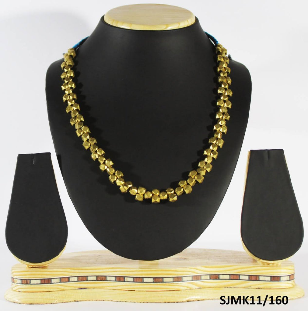 Dhokra Brass Beaded Thread Necklace