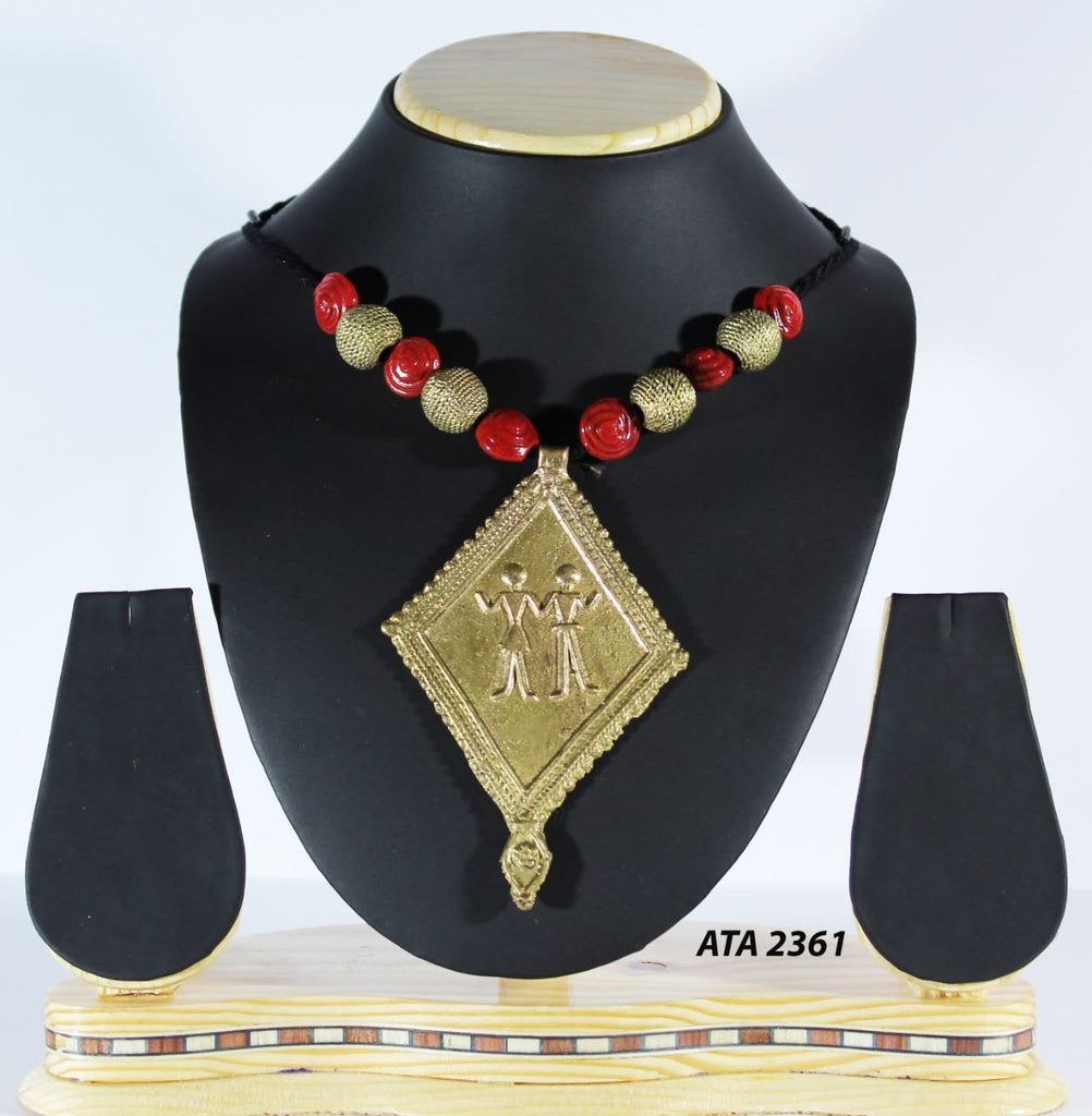 Dhokra Bastar Art Pendant Necklace