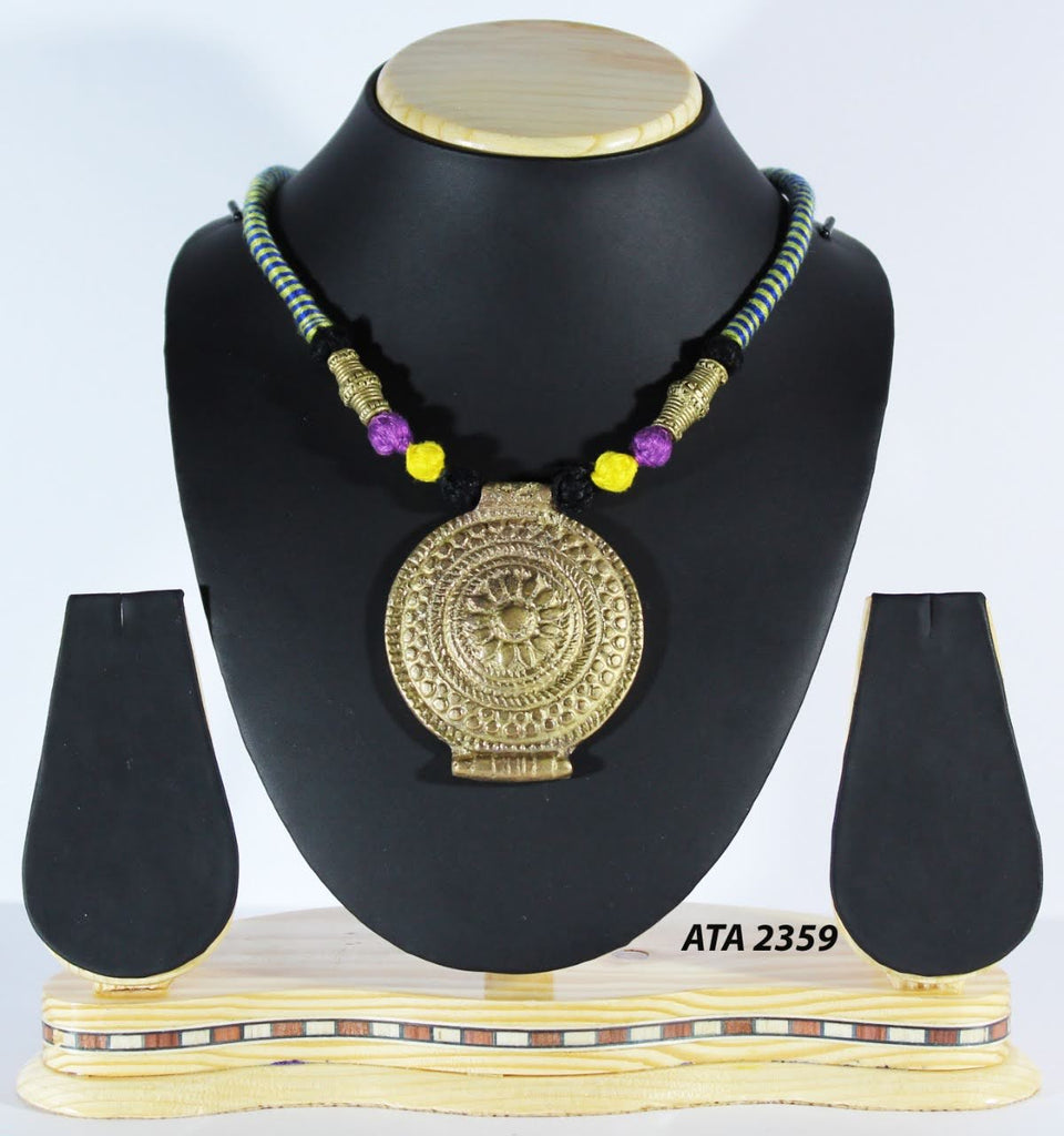 Dhokra Big Pendant Necklace