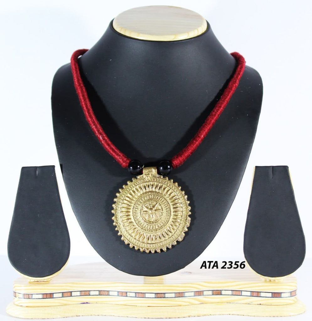 Dhokra Big Pendant Necklace with Red Thread