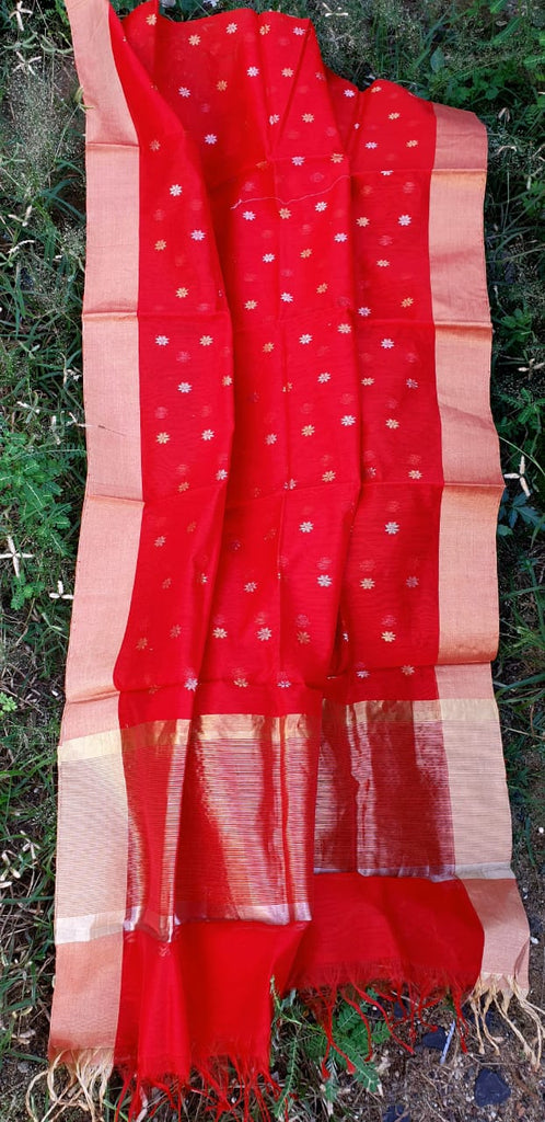 Maheshwari Red Cotton Silk Dupatta with Zari Buti