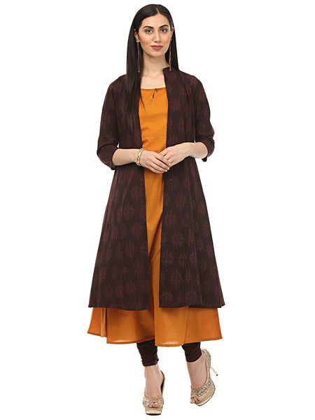 Darzaania Handblocked Long Cape Kurta