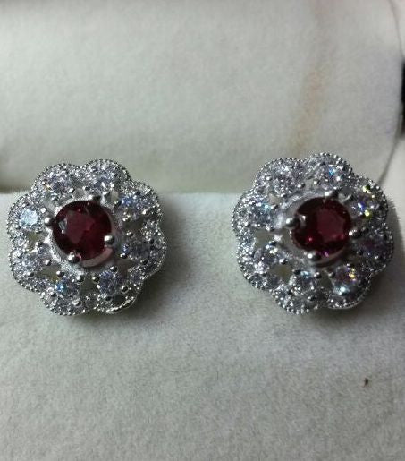 Red Stone Silver Earrings