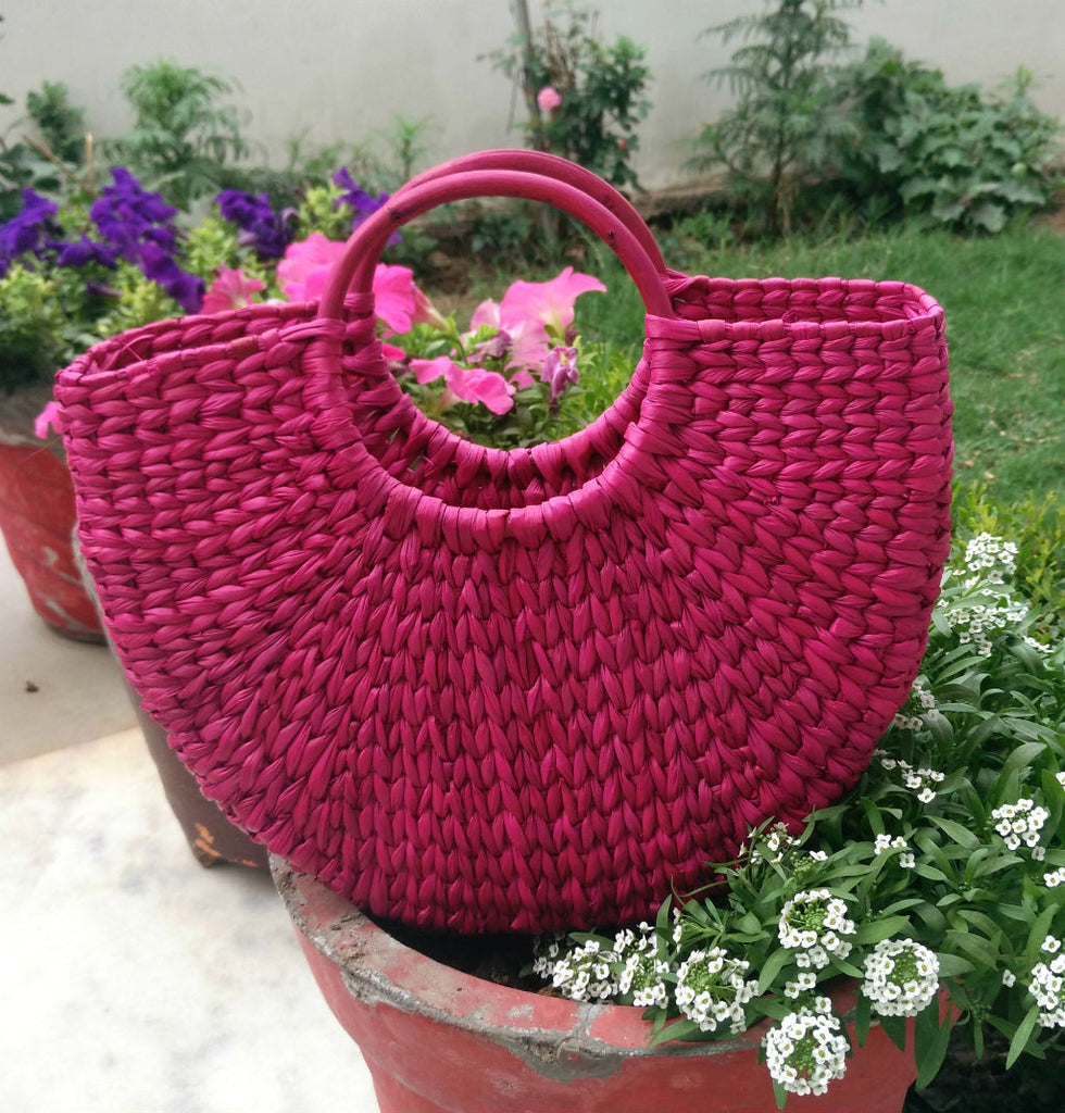 Magenta Medium Handbag - Kouna Craft