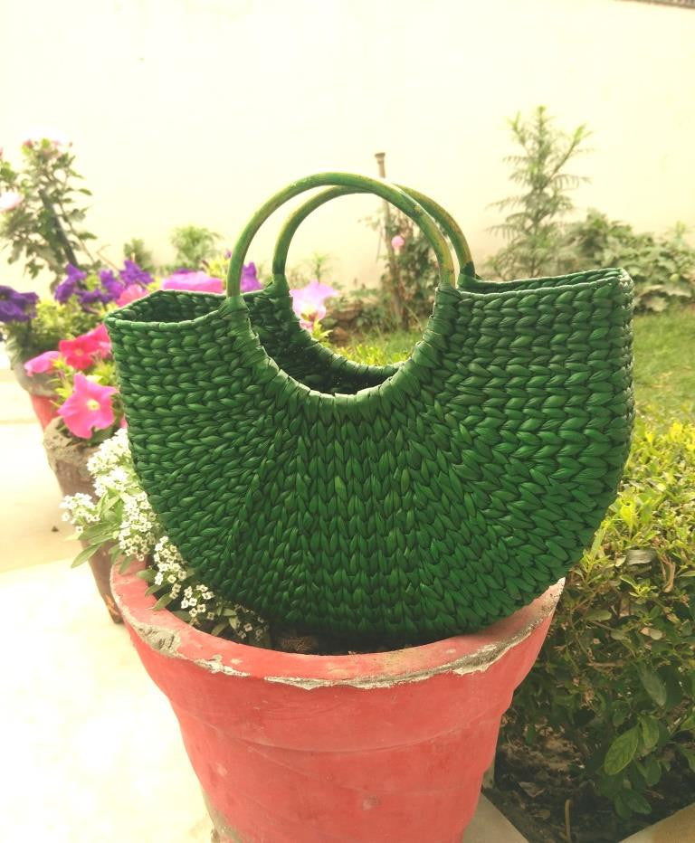 Green Large Handbag - Kouna Craft