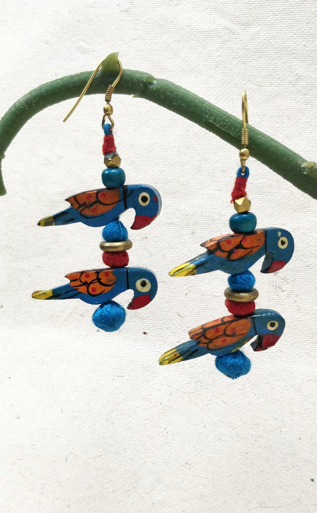 Patwa Parrot Handpainted Earrings