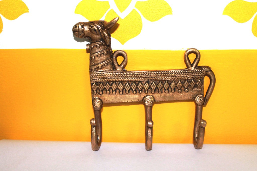 Dhokra Cow Shaped Key Wall Hook