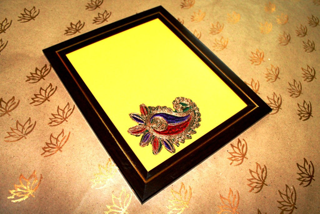 Designer Wooden Photoframe with Yellow Background