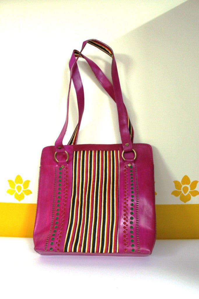 Handstitched Leather & Fabric Handbag