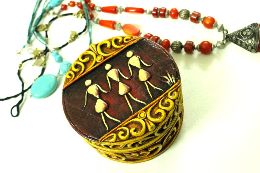 Papier Mache Round Jewelry Box / Multi-utility Box