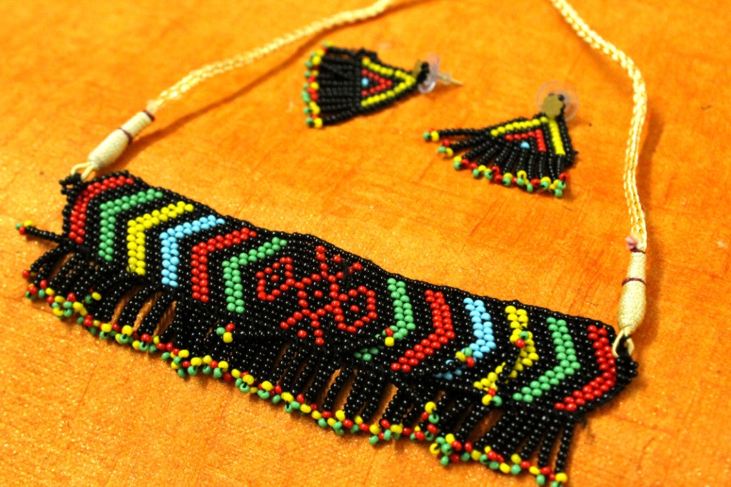 Traditional Beaded Necklace with Earrings