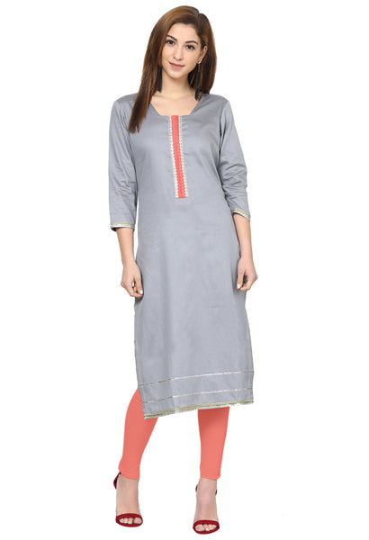 Darzaania Grey Silk Long Kurta