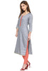 Grey Silk Long Office wear Kurta for women
