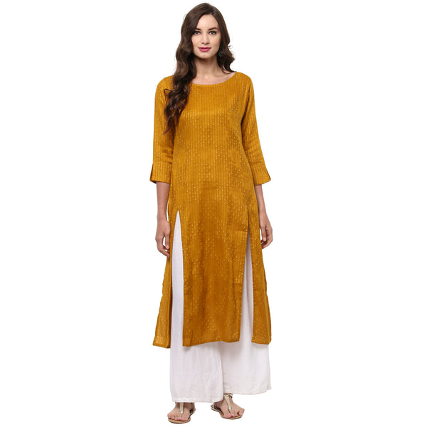 Darzaania Mustard Long Cotton Kurta