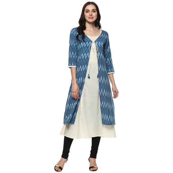 Darzaania Ikat Handloom Blue Cotton Shrug Kurta