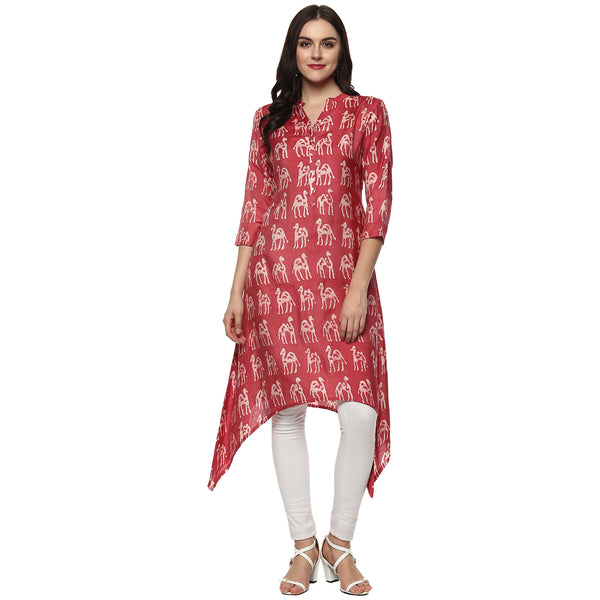 Darzaania Handblocked Cotton Silk Asymmetric Kurta