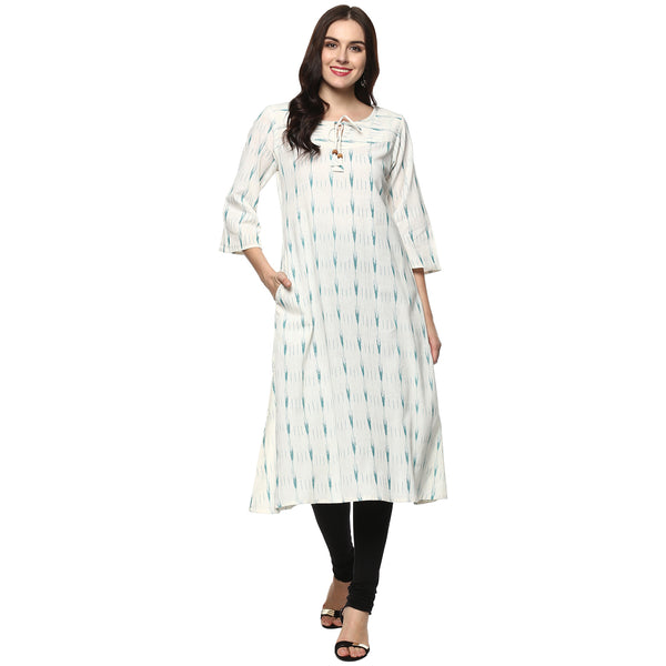 Darzaania White Ikat Handloom Cotton Kurta