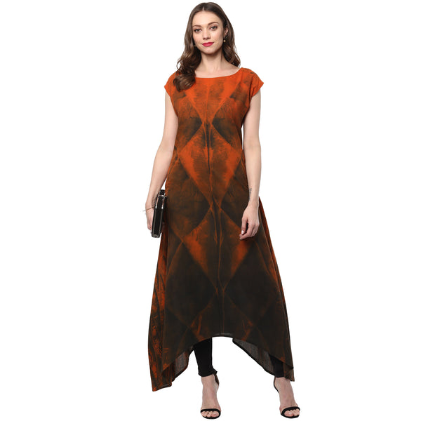 Darzaania Clamp Dyed Cotton Kurta cum Maxi Dress