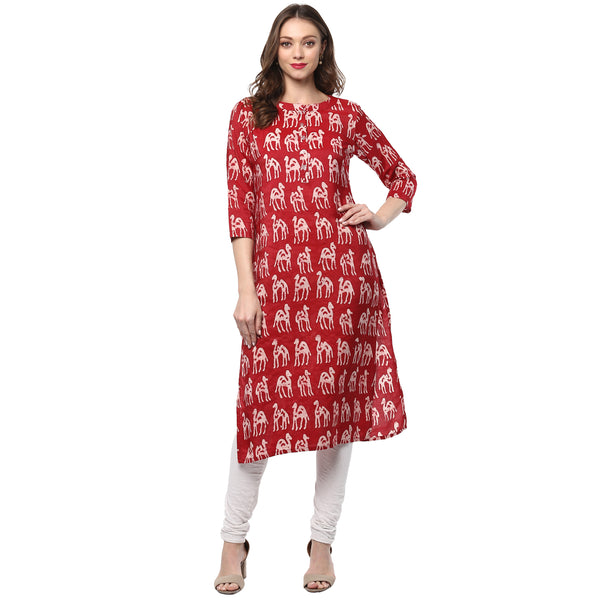 Darzaania Handblocked Cotton Silk Long Kurta