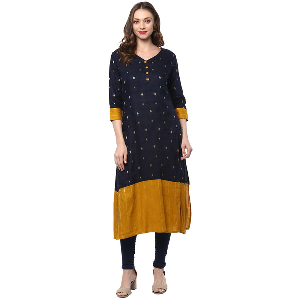 Darzaania Navy Blue Mustard Long Cotton Kurta