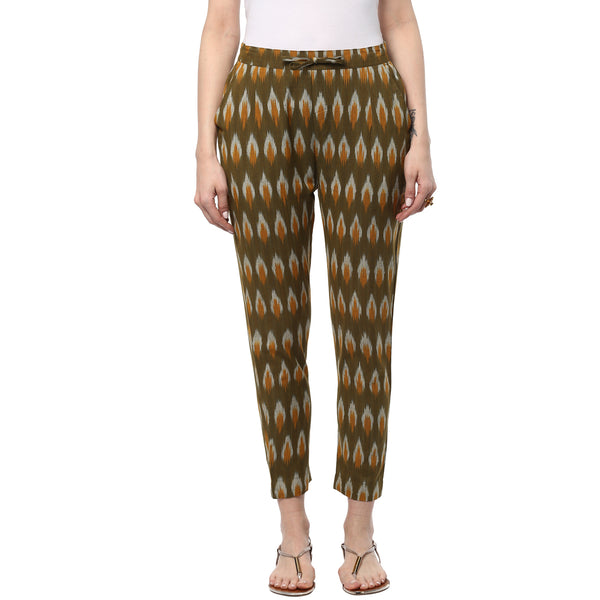 Darzaania Ikat Handloom Green Cotton Trousers