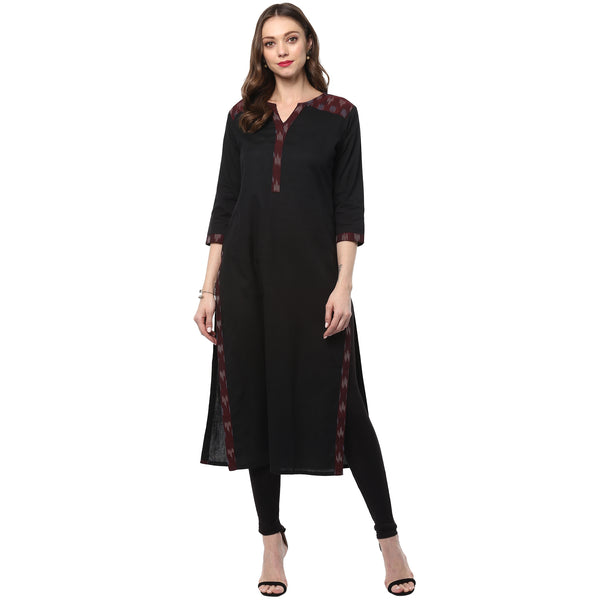 Darzaania Black Ikat Long Cotton Kurta