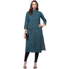 Green Printed Long Cotton Kurti