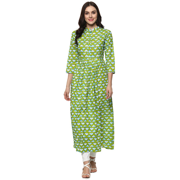 Darzaania Green Printed Long Cotton Kurta