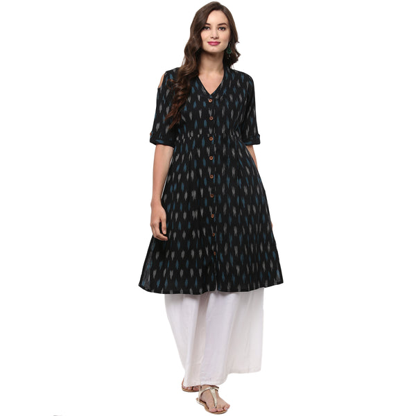 Darzaania Ikat Handloom Button Down Cotton Kurta