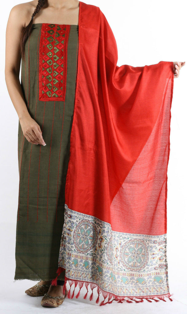 Tussar Phulkari Work Unstitched Top with Madhubani Print Dupatta