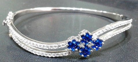 Sterling Silver Blue Flower Bracelet 92.5