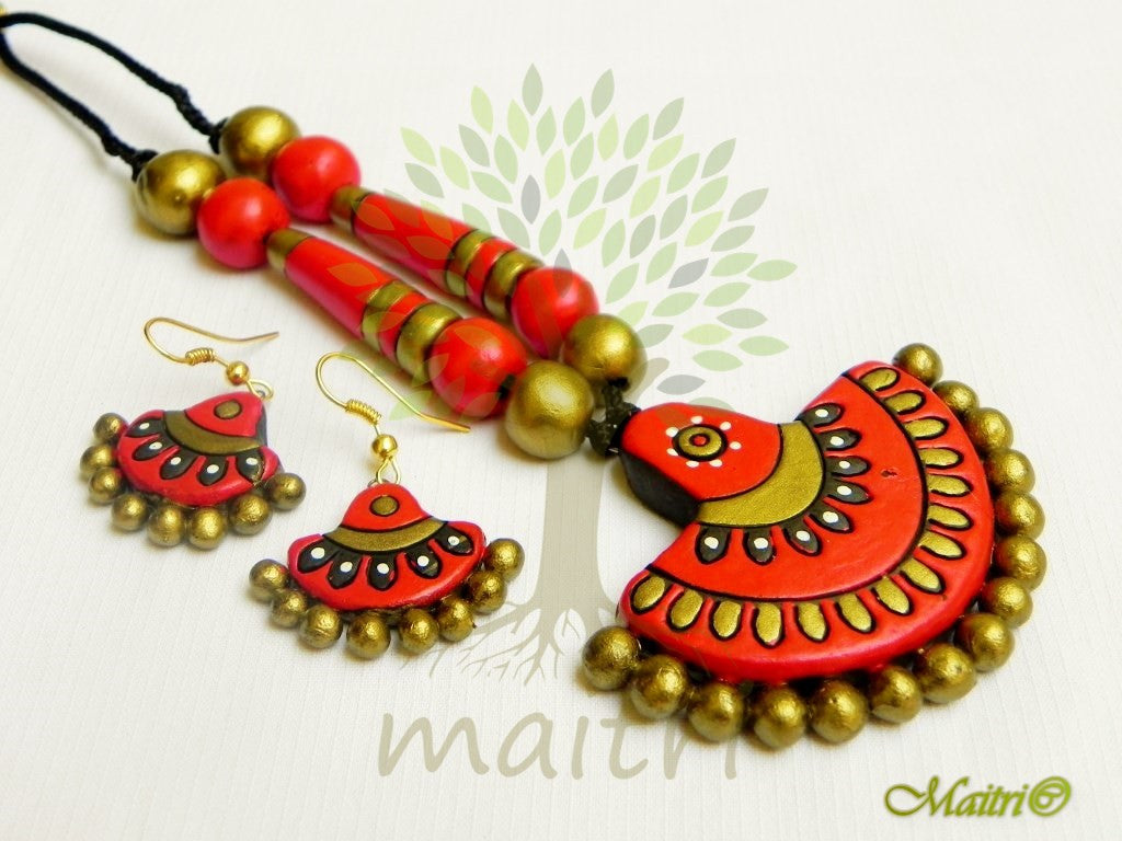 Terracotta Jewellery Statement Necklace Set