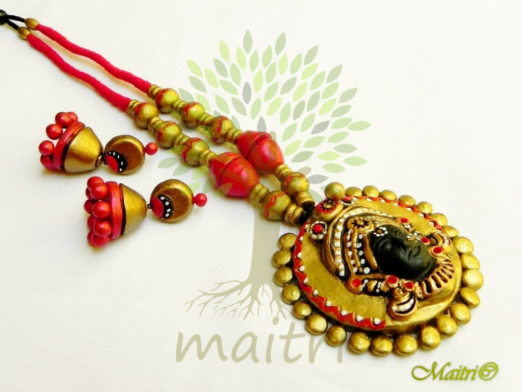Terracotta Necklace Set with Jhumkis