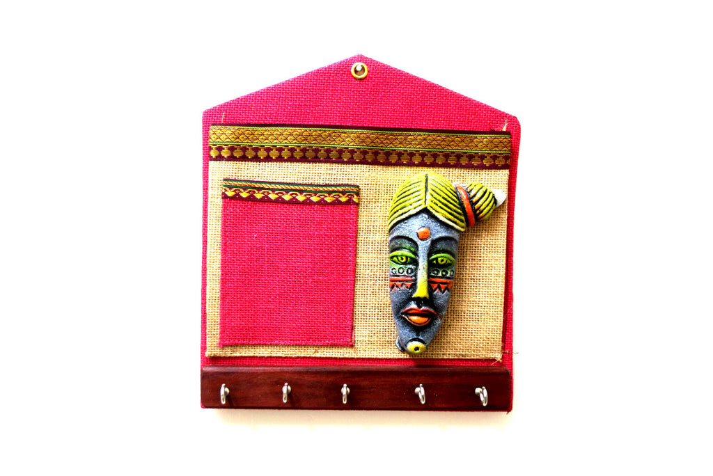 Papier Mache Key Holder with Pen & Magazine Holder  - Tribal Art