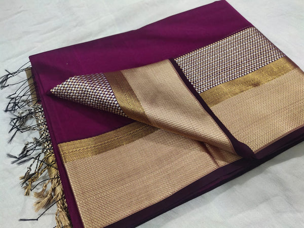 Maheshwari Handloom Saree with Double Silk Border