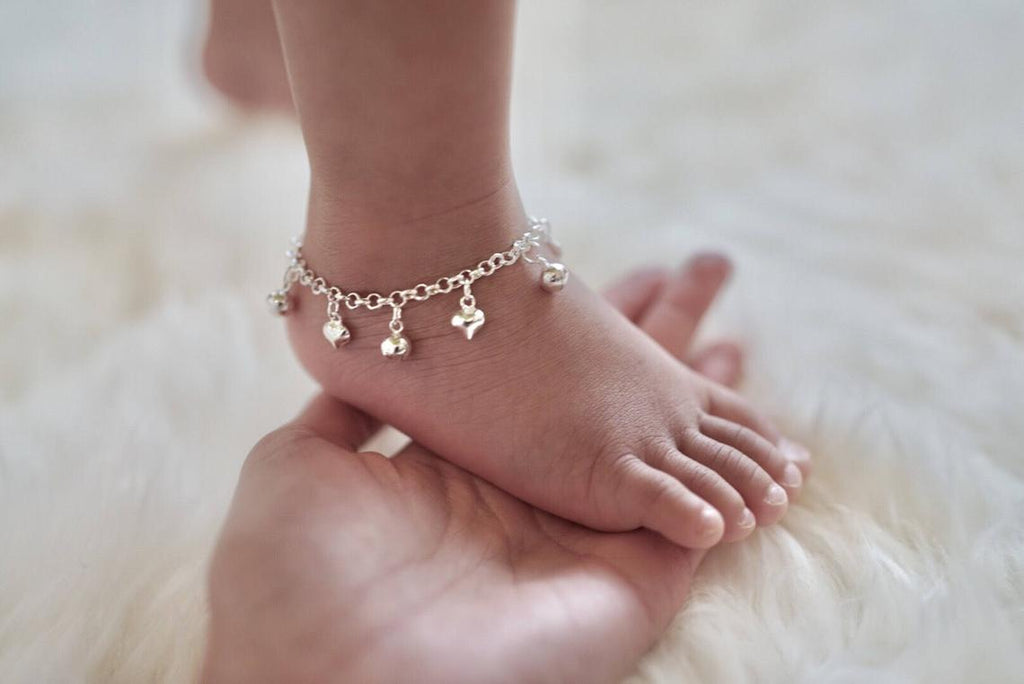 TWO Sterling Silver Jingle Bell & Hearts Anklet for Baby