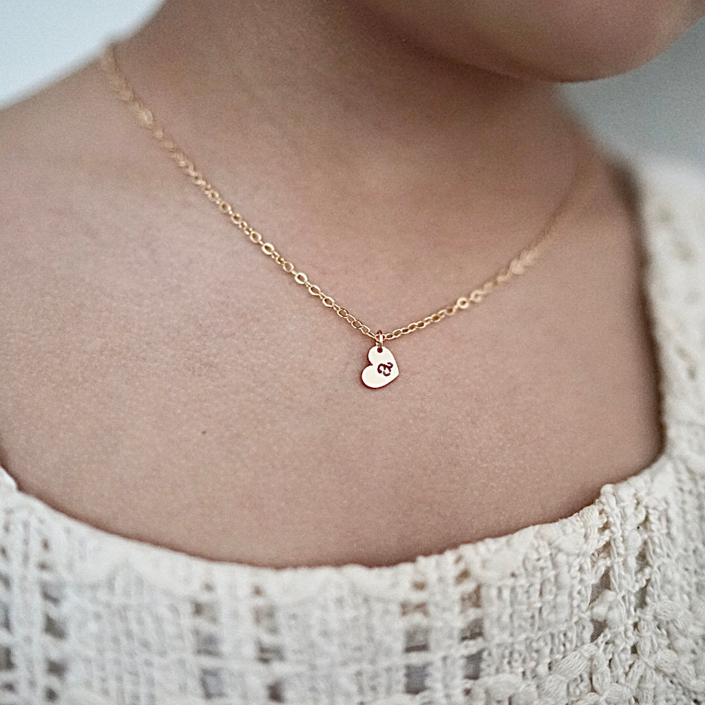 Floating Heart Initial Charm Necklace