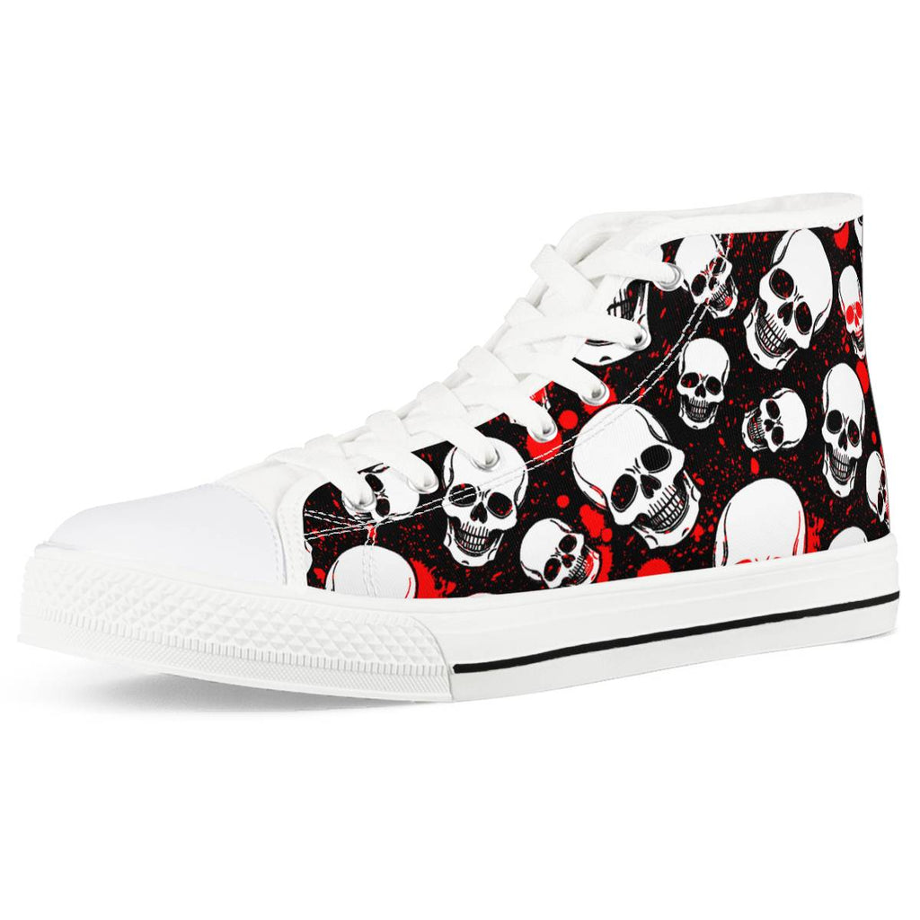 Bloody Bones - White High Top Canvas Shoes - Spooked Clothing