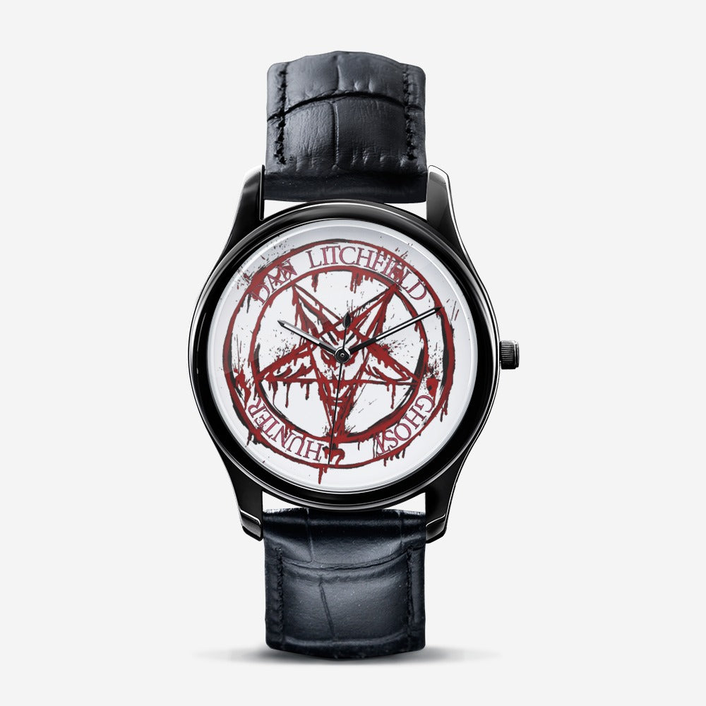 Dan Litchfield Ghost Hunter Blood Pentacle Classic Fashion Unisex Print Black Quartz Watch - Spooked Clothing