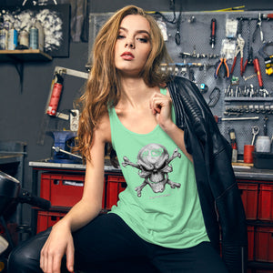 #CSP Skull And Crossbones Women's Flowy Racerback Tank - Spooked Clothing
