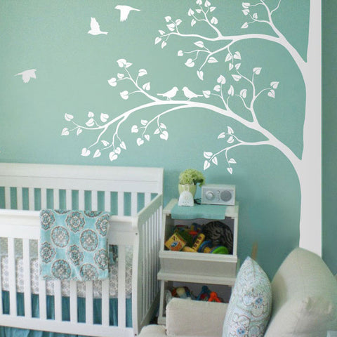 Large Size Corner White Tree With Leaves And Birds Wall Sticker